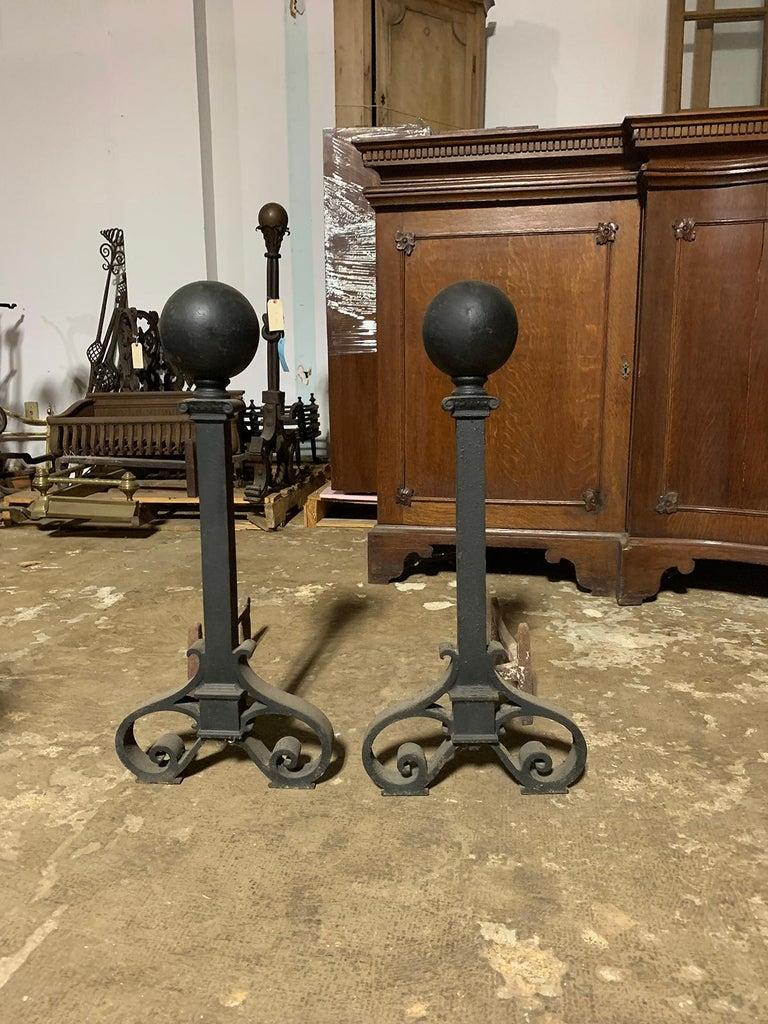 Pair of large circa 1900 iron andirons, ball finials.