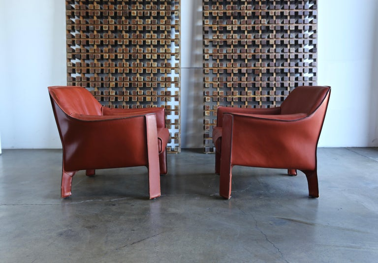 Pair of large CAB lounge chairs designed by Mario Bellini for Cassina. This is the largest chair designed for the CAB series.