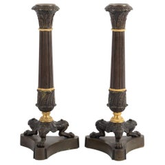 Pair of Large Candleholders in Bronze