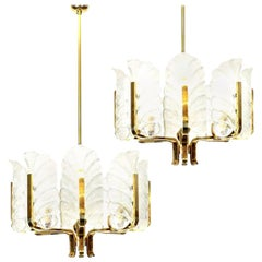 Pair of Large Carl Fagerlund Glass Leaves Brass Chandelier by Orrefors
