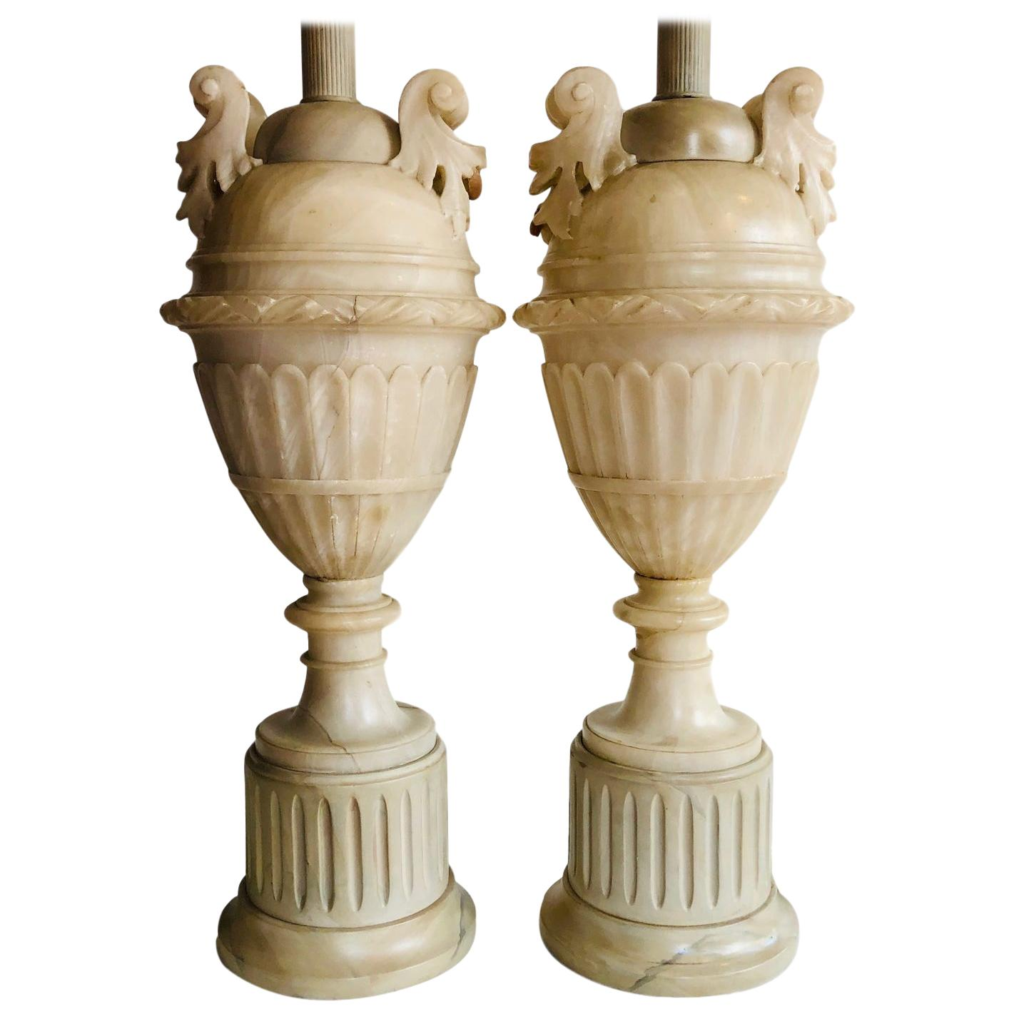 Pair of Large Carved Alabaster Table Lamps