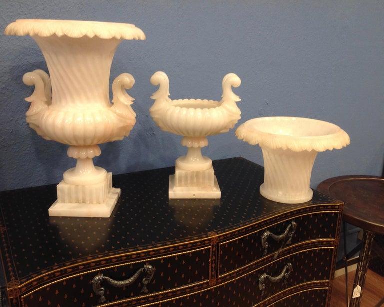 Pair of Large Carved Alabaster Urns For Sale 6