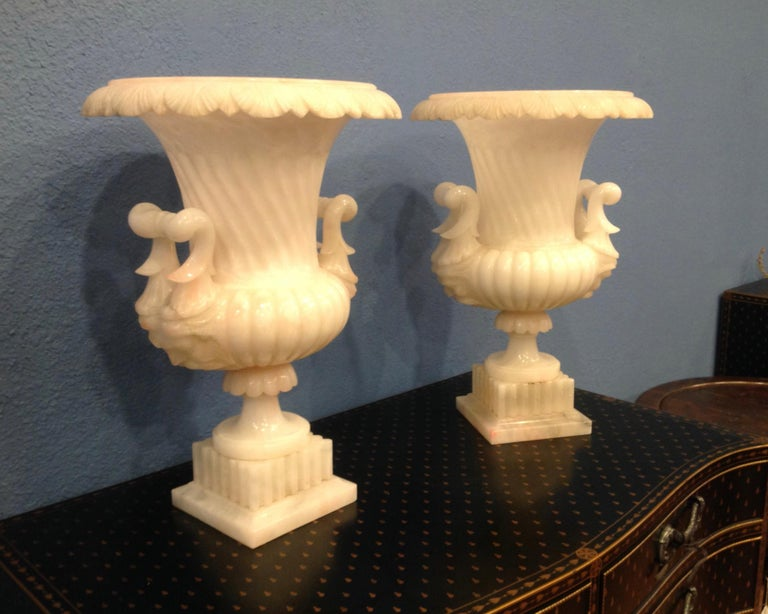 Neoclassical Pair of Large Carved Alabaster Urns For Sale