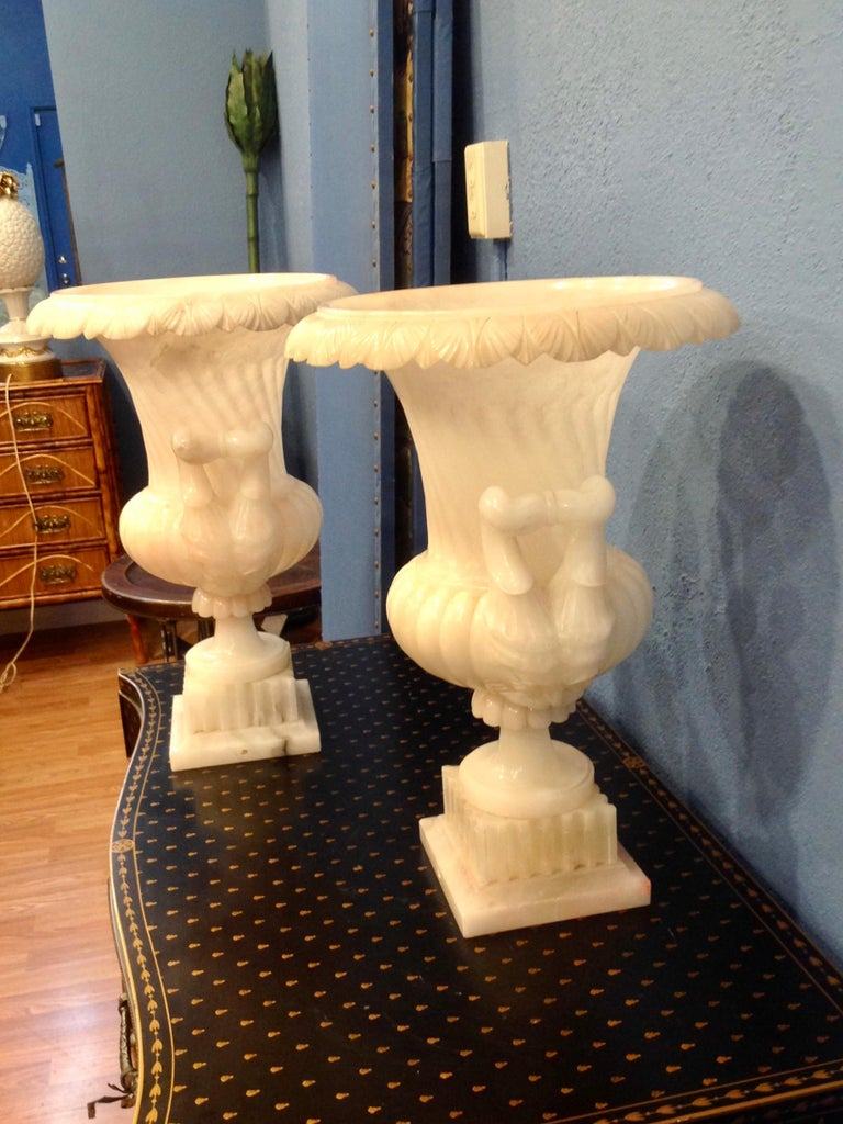 Italian Pair of Large Carved Alabaster Urns For Sale