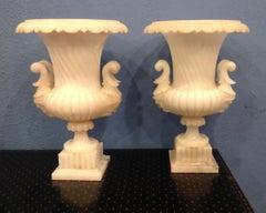 Pair of Large Carved Alabaster Urns