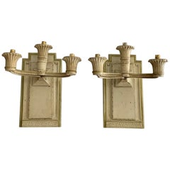 Pair of Large Carved and Painted Three Lights Wooden Wall Sconces