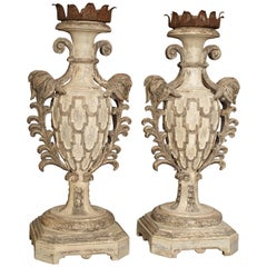 Pair of Large Carved and Polychrome Candlesticks from Italy