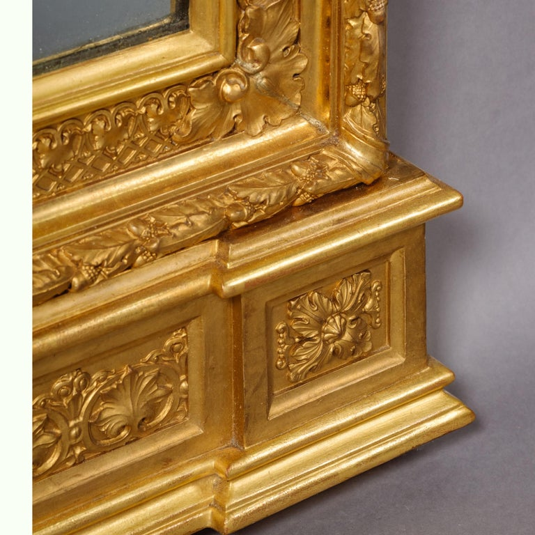 Pair of Large Carved Giltwood and Gesso Mirrors In Good Condition For Sale In London, GB