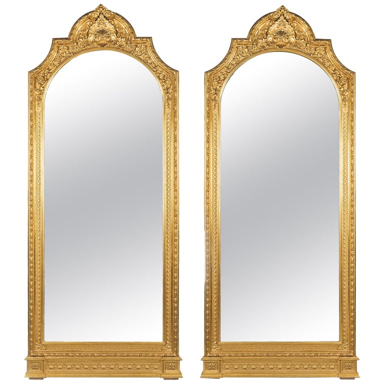 Pair of Large Carved Giltwood and Gesso Mirrors For Sale