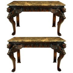 Pair of Large Carved Mahogany Adam Revival Console Tables