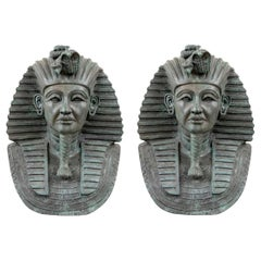 Pair of Large Cast Bronze Busts of Egyptian Pharaohs