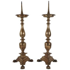 Pair of Large Cast Bronze Late 18th Century Continental Pricket Candlesticks