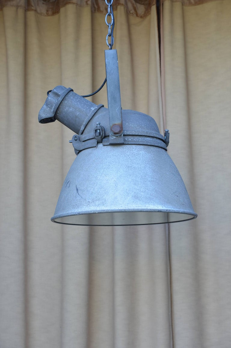 American Pair of Large Cast Iron, Aluminum and Glass Industrial Hanging Lights For Sale