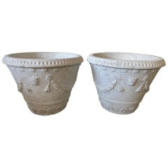 Pair of Large Cast Stone Neoclassical Style Garden Planters