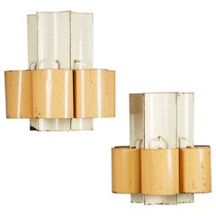 Pair of Large Ceiling Lamps Anonymous, Sweden, 1950s