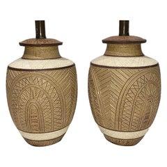 Pair of Large Ceramic Cream Colored Lamps