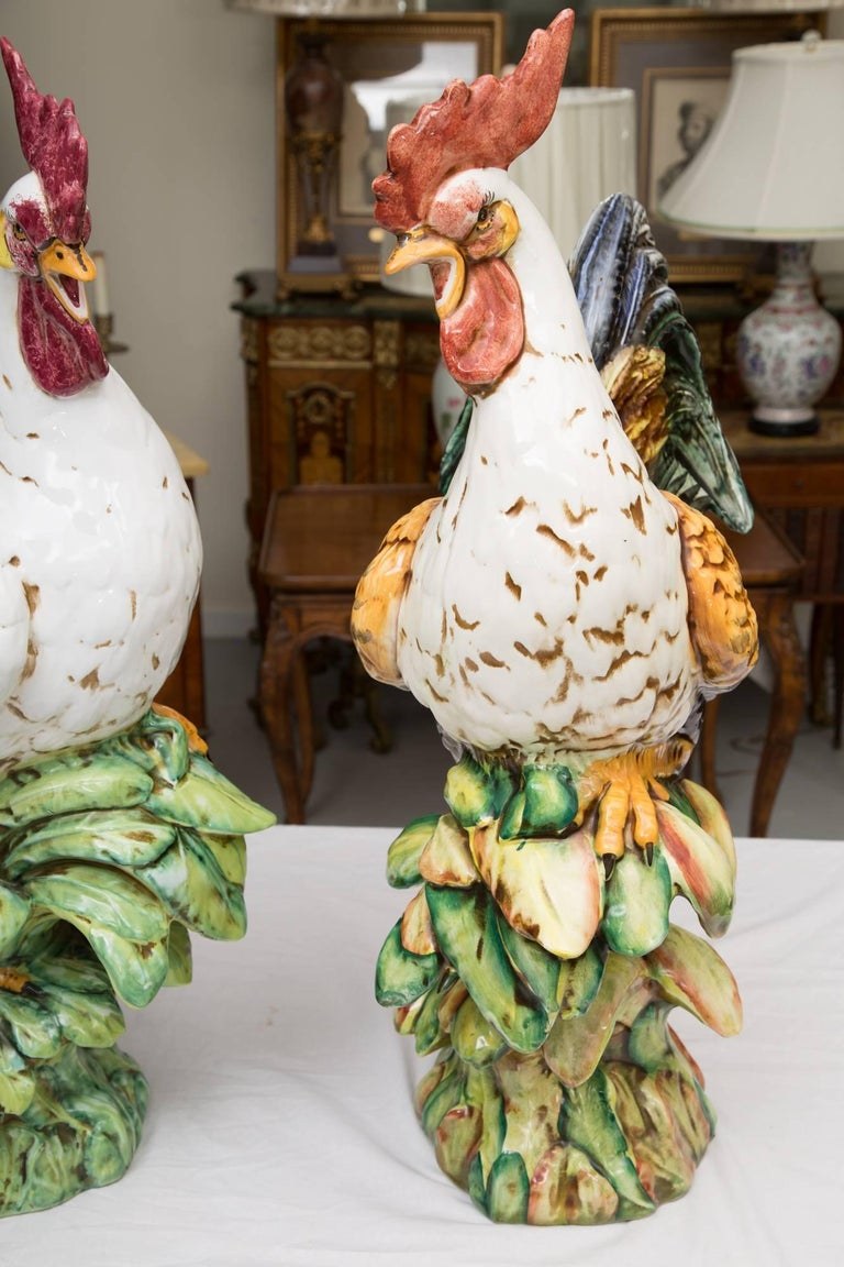 Other Pair of Large Ceramic Hand-Painted Cocks For Sale