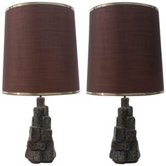 Pair of Large Ceramic Table Lamps in the Shape of Rocks, 1960s Italy