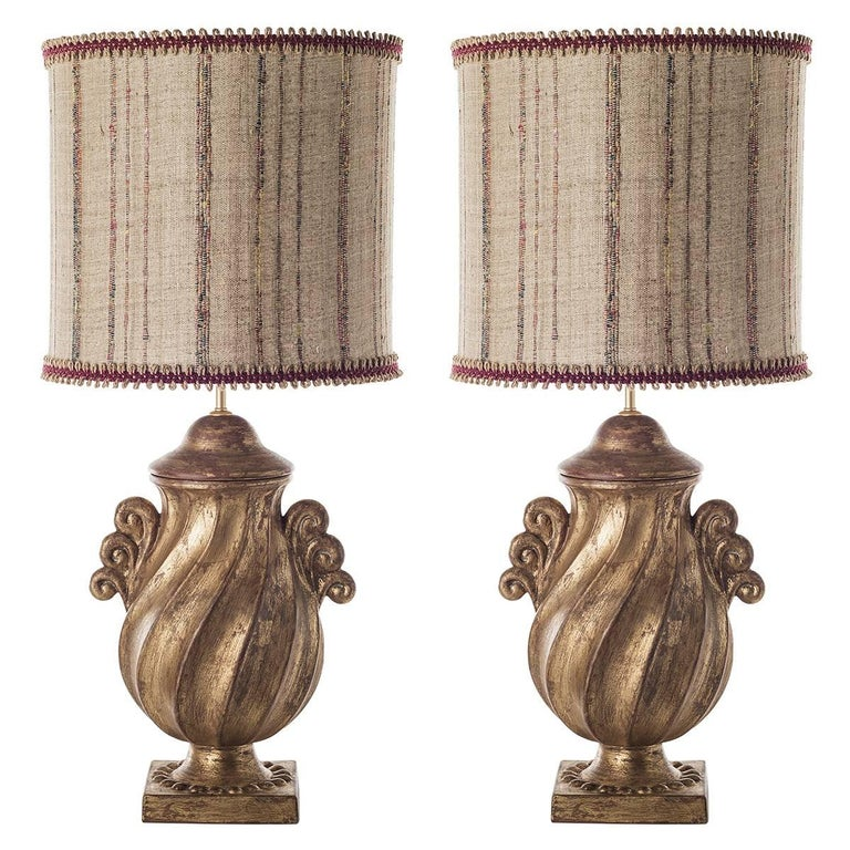Pair of Large Ceramic Table Lamps with Full Urn Shaped Body