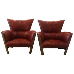 Pair of Large Channel Back Leather Club Chairs