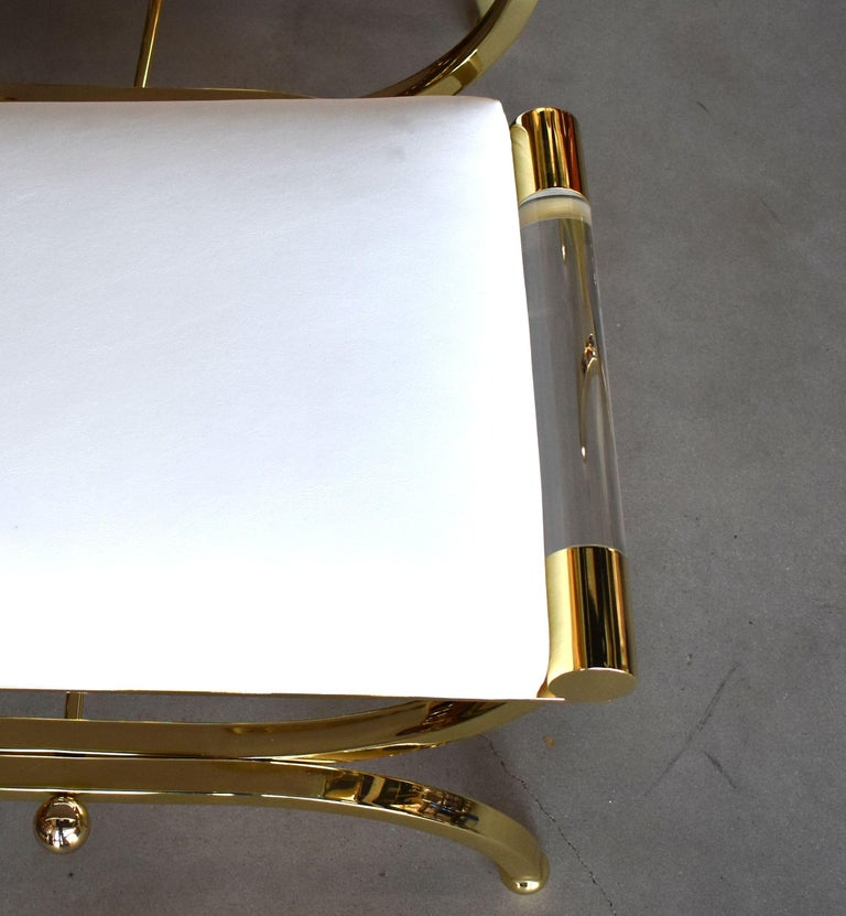 Pair of Large Charles Hollis Jones Brass Regency Benches, Signed For Sale 5