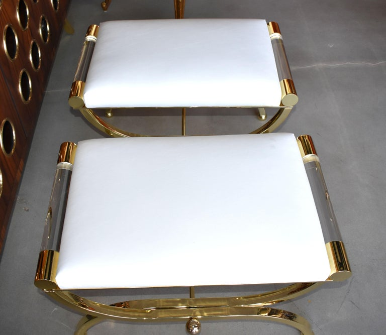 Pair of Large Charles Hollis Jones Brass Regency Benches, Signed For Sale 6