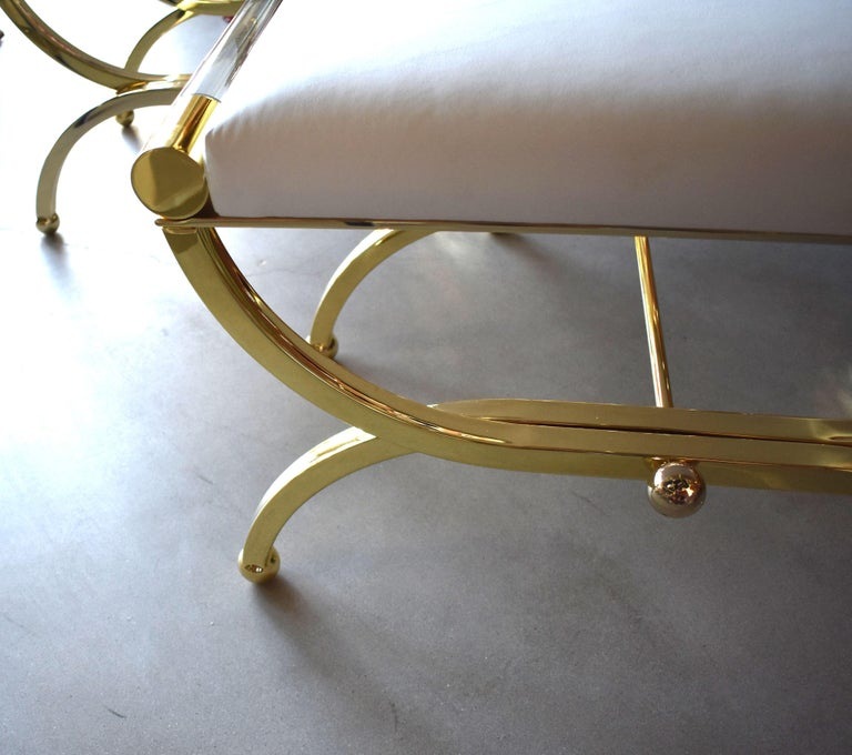 Mid-Century Modern Pair of Large Charles Hollis Jones Brass Regency Benches, Signed For Sale