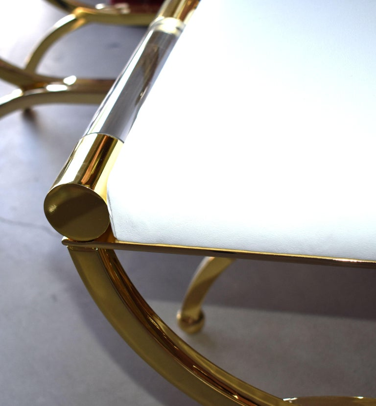 Pair of Large Charles Hollis Jones Brass Regency Benches, Signed In Good Condition For Sale In Cathedral City, CA