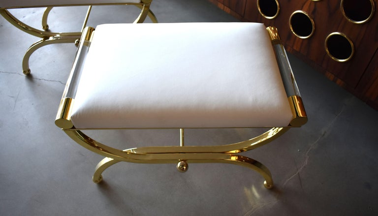 Contemporary Pair of Large Charles Hollis Jones Brass Regency Benches, Signed For Sale