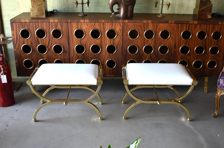 Pair of Large Charles Hollis Jones Brass Regency Benches, Signed For Sale 1