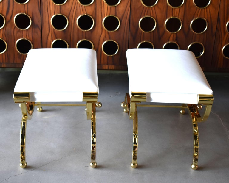 Pair of Large Charles Hollis Jones Brass Regency Benches, Signed For Sale 3
