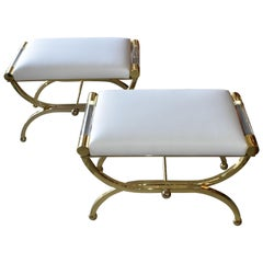 Pair of Large Charles Hollis Jones Brass Regency Benches, Signed