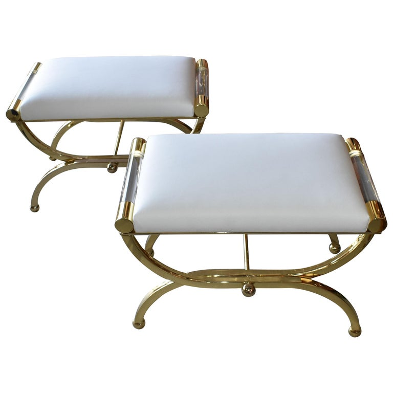 Pair of Large Charles Hollis Jones Brass Regency Benches, Signed For Sale
