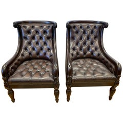 Pair of Large Chesterfield Dark Brown Tufted Leather Armchairs Wingbacks