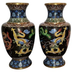 Pair of Large Chinese Bronze Cloisonné Dragon and Phoenix Vases