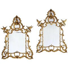 Pair of Large Chinese Chippendale Style Gilt Wood Over-Mantle Mirrors