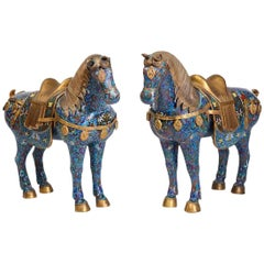 Pair of Large Chinese Cloisonne Horses