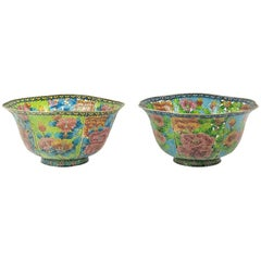 Pair of Large Chinese Cloisonné Plique-à-Jour Bowls