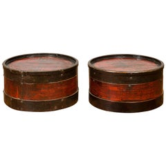Pair of Large Chinese Lacquered Wood Lidded Drum Tables with Geometric Patterns