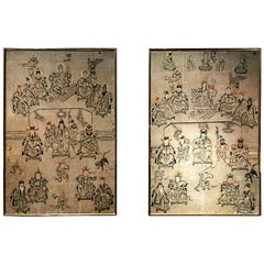 Pair of Large Chinese Paintings on Paper with Gilded Wooden Frame