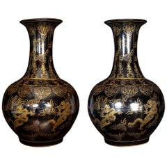 Pair of Large Chinese Porcelain Black and Gilt-Decorated Vases
