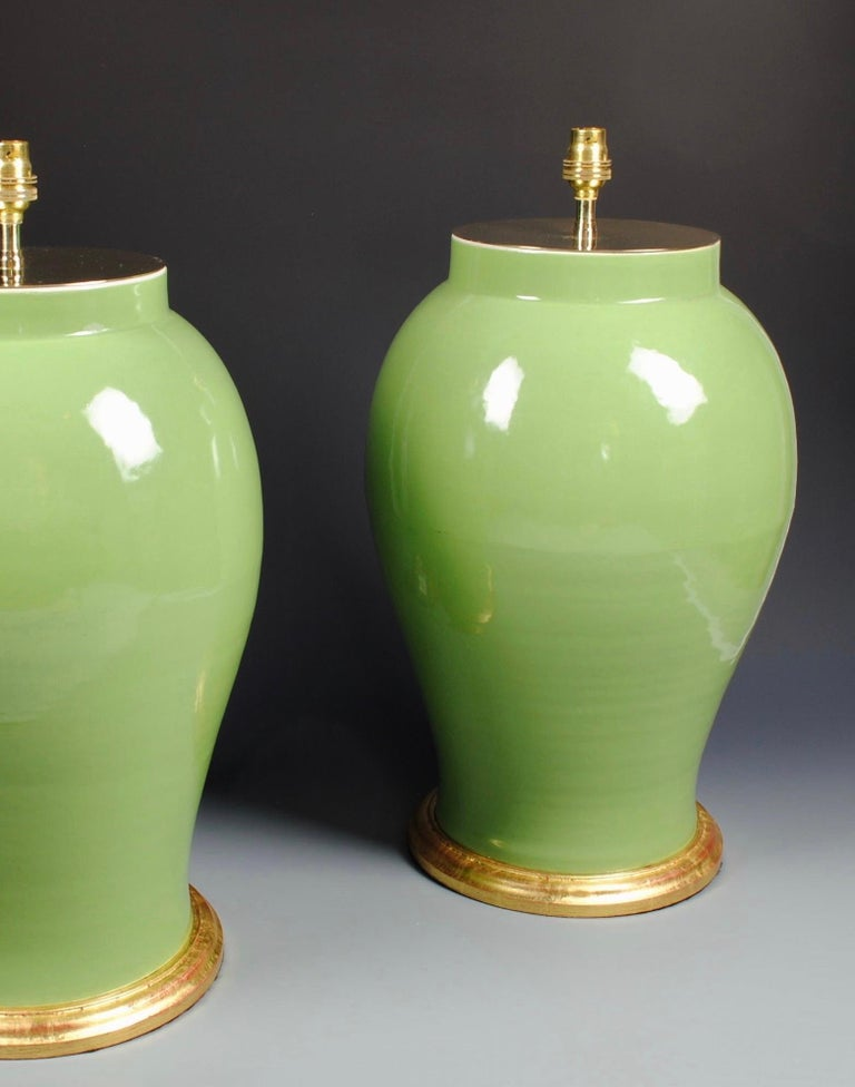 Glazed Pair of Large Chinese Porcelain Green Table Lamps For Sale