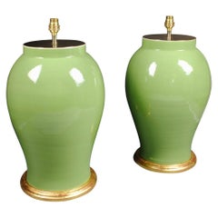Pair of Large Chinese Porcelain Green Table Lamps