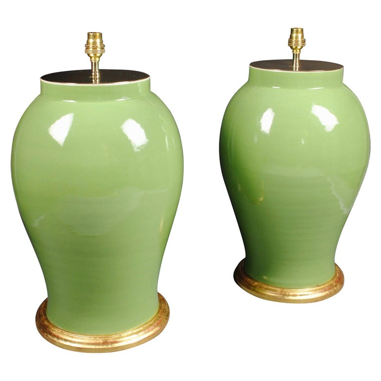 Pair of Large Chinese Porcelain Green Table Lamps For Sale
