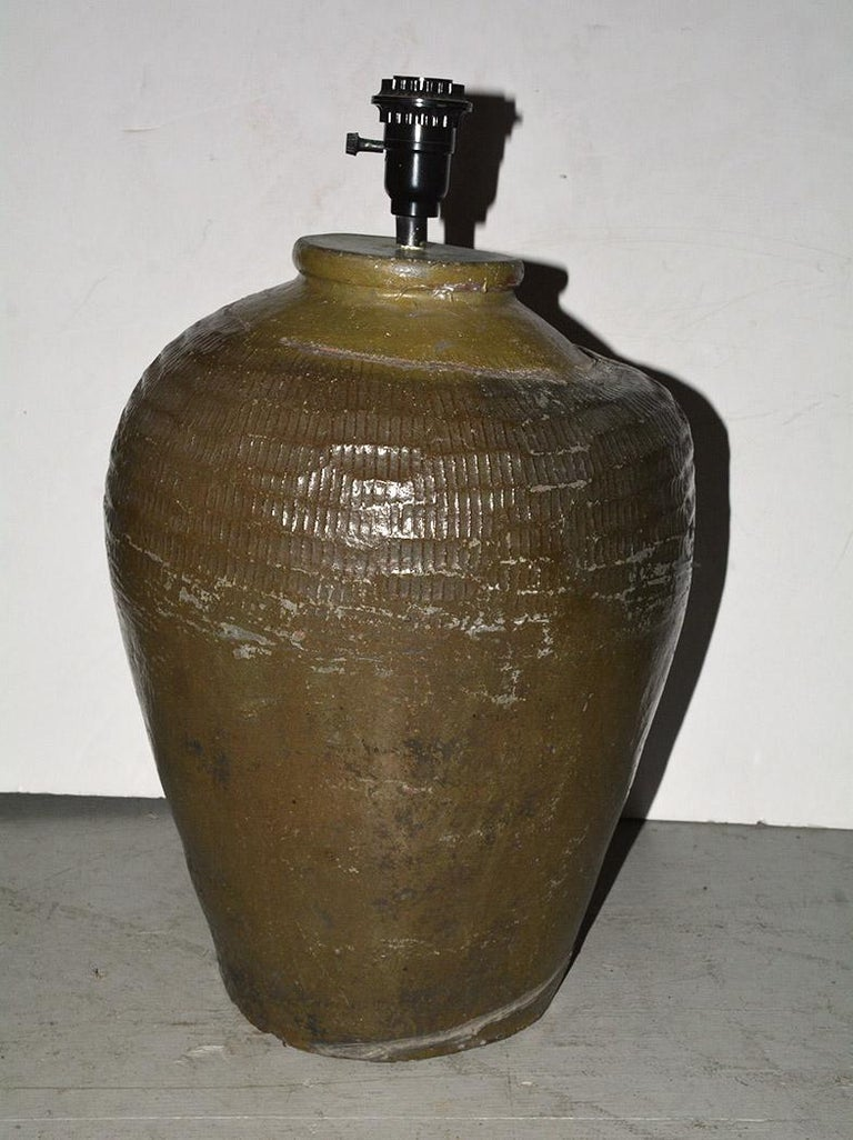 Rustic Pair of Large Chinese Storage Wine Jar Lamp Bases For Sale