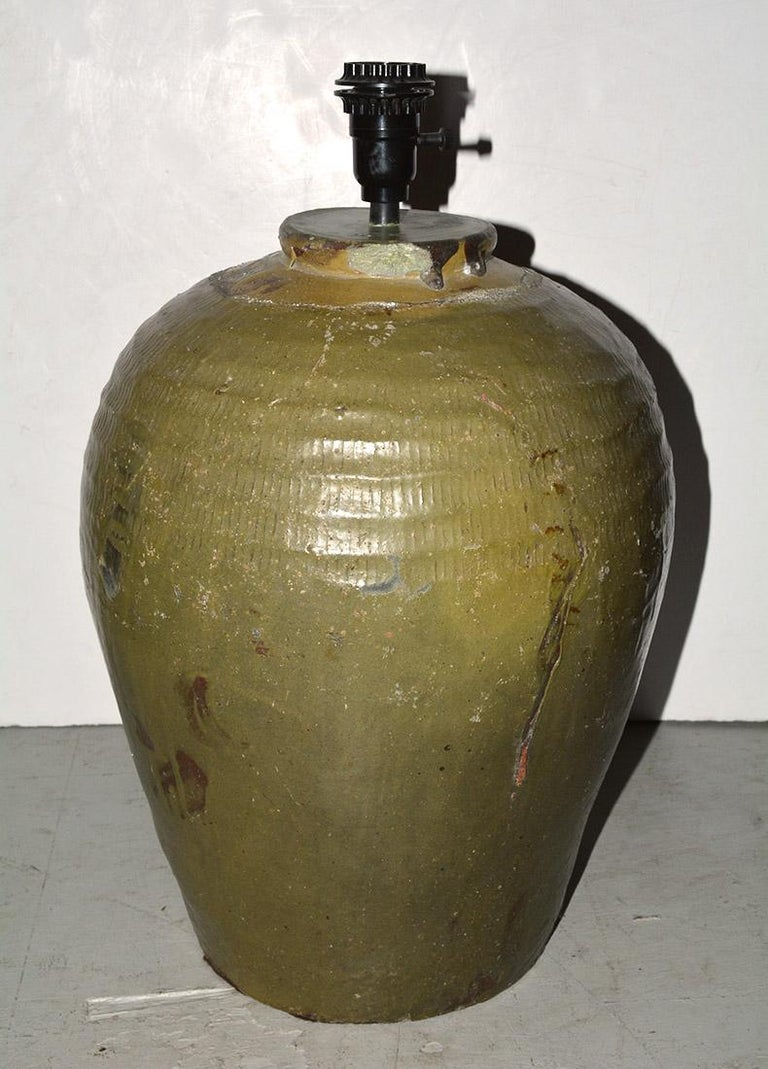 20th Century Pair of Large Chinese Storage Wine Jar Lamp Bases For Sale