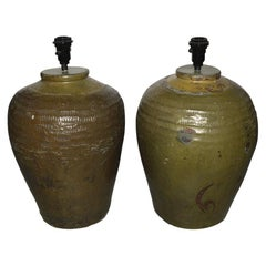 Pair of Large Chinese Storage Wine Jar Lamp Bases