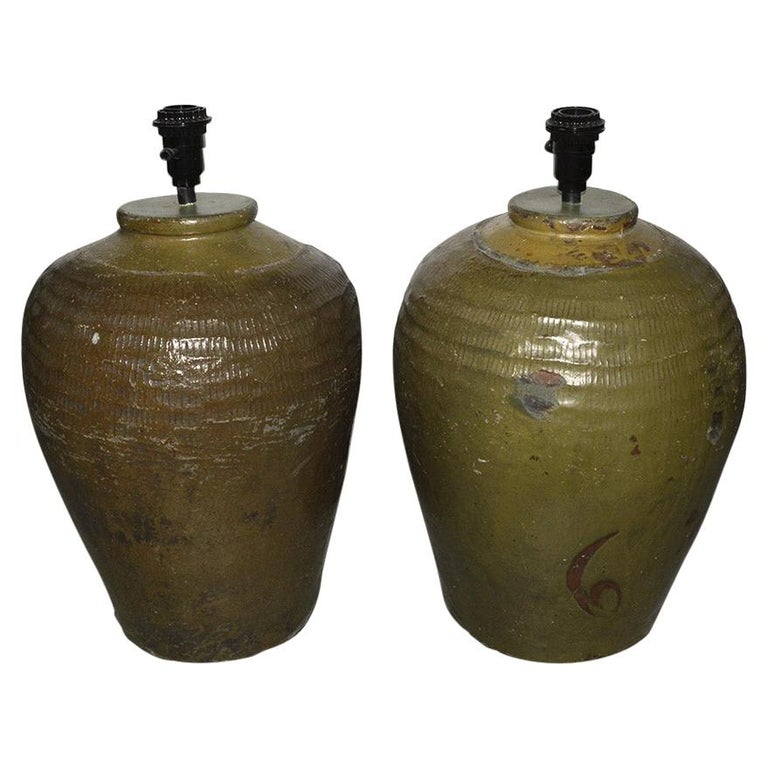 Pair of Large Chinese Storage Wine Jar Lamp Bases For Sale
