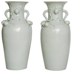 Pair of Large Chinese White Porcelain Peach Vases