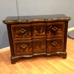 Pair of Large Chinoiserie Serpentine Commodes